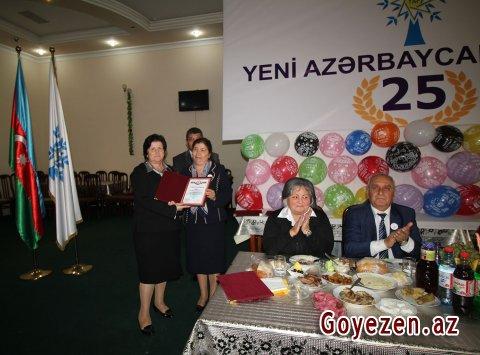 Qazaxda Yeni Azərbaycan Partiyasının yaranmasının 25 illik yubileyi münasibətilə tədbir keçirilib